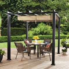 """This Aluminum Steel Pergola adds class and distinction to your outdoor space, along with a great area to simply rest and relax. 1.58"""" (4.01 cm) thick cross supports.   eBay!"""