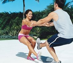 Couples workout. The couple that plays together, stays together...