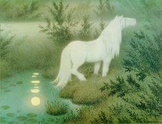 Nøkken som hvit hest (La Nix como un caballo blanco) by Theodor Kittelsen. Theodore Kittelsen, Moritz Von Schwind, Horse Cards, Most Popular Artists, The Draw, Lofoten, White Horses, Nature Paintings, Fantasy World