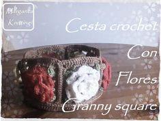 Granny Square: cesta redonda con flores crochet(zurdo)