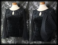 Gothic Black Crushed Velvet Fitted DIABOLIC Wide Drape Sleeve Top 6 8 Vampire