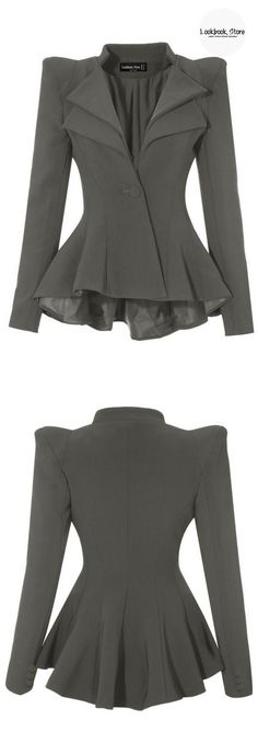 Most Wanted // Feel and look like a boss in this uber gorgeous grey double lapel fit-and-flare blazer.