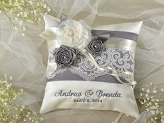 Lace Wedding Pillow, Ring Bearer Pillow, Ring Pillow Embroidery Names, ivory Satin, Lace yellow ribbon on Etsy, $45.00