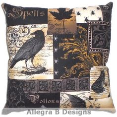 Gothic Raven Pillow Victorian Steampunk Home Decor on Etsy, $15.00...Cute idea, maybe more victorian, less gothic?