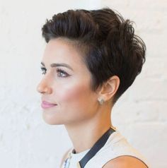 Boyish Tapered Pixie Cut Looking for something on the shorter side? A very short pixie like this boyish tapered cut is ultra edgy and low-maintenance. Style with pompadour bangs and finish the look off by sweeping crown pieces forward for more texture. Pixie Haircut For Thick Hair, Pixie Haircut Styles, Short Hair Styles, Pixie Cut Curly Hair, Pixie Styles, Medium Hair Styles, Black Pixie Cut, Super Short Pixie Cuts, Long Pixie