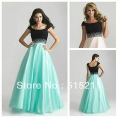 mobile site-Custom Made Elegant Black And Blue Tulle Ball Gown Modest Prom Dress With Cap Sleeves 2013 New Arrival