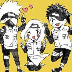 Team Minato, Kakashi, Rin, Obito, cute, chibi; Naruto