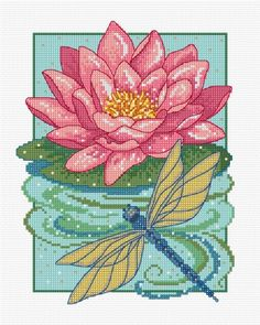 LJT090 Waterlily picture | Lesley Teare Needlework and Cross Stitch Chart Designs