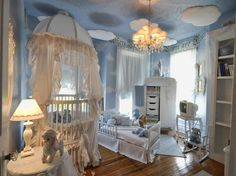 baby room with a cool ceiling