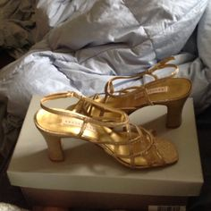 Shoes Apostrophe Gold Strappy Dress Sandals. Worn only once for a wedding.   I would model them, but they don't fit anymore.   Sorry, I don't have a box. Apostrophe Shoes Sandals