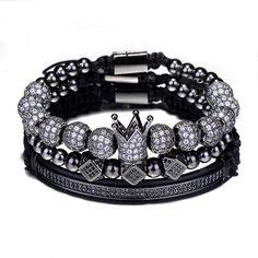 The Royal Crown Bracelet Set Micro Pave CZ BraceletAdjustable Size Type: BraceletsBracelets Type: Charm BraceletsGender: UnisexClasp Type: Lace-upMaterial: Cubic Zirconia Black, Gold, Silver, Rose Gold Bracelets For Men, Beaded Bracelets, Cross Bracelets, Charm Bracelets, Luxury Jewelry, Unique Jewelry, Diy Jewelry, Gold Crown, Fancy