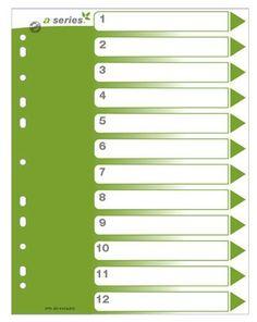 Hakemisto A4 muovi 1-12 ylilev etulehti kartonkia
