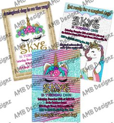 Custom themes and characters. Paw Patrol Invitations, Custom Party Invitations, Disney Invitations, Unicorn Invitations, Personalized Invitations, Digital Invitations, Printable Invitations, Unicorn Party Supplies, Party Themes