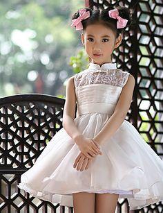 Vestido de niña de las flores Corte Evasé - Escote Alto - Corto ( Satén ) – USD $ 44.99