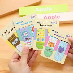 F56 2pcs/ pack Kawaii Cute Cartoon Animal Magnetic Bookmarks Books Marker of Page School Office Supplies Korean Stationery