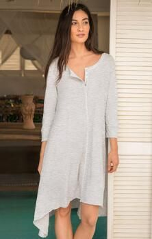 Embrace the sweet simplicity of our cozy cotton henley sleepshirt.
