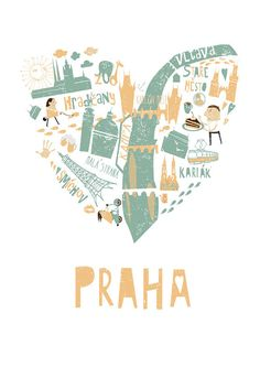 Praha - my favourite city Heart Illustration, Travel Illustration, Illustration Styles, Prague Map, Goodbye Gifts, Poster City, Travel Sketchbook, Travel Crafts, City Painting