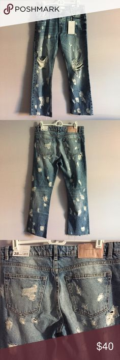ZARA TRAFALUC Distressed Straight Leg Jeans Woman's 38/ US 6 • Brand New Zara Jeans • Very Unique & Perfect For Fall • Distressing All Over Is Factory Made Zara Jeans Straight Leg