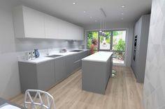 Pearl Grey & White Laminate Kitchen Design - Pearl grey kitchen design render - Discover more at www.lwk-home.com