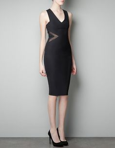 FITTED DRESS WITH SHEER CUT-OUTS - Dresses - Woman - ZARA United States