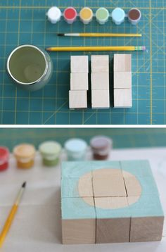 DIY Painted blocks for babies Wooden Block Puzzle, Wooden Puzzles, Wooden Blocks, Puzzles For Toddlers, Craft Activities For Kids, Painting For Kids, Diy Painting, Diy For Kids, Crafts For Kids