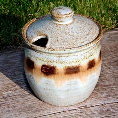 Dennis Lucas Hastings Pottery Stoneware Honey Jam Jar Lid 4.25in Tall Vintage