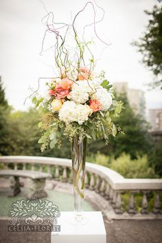 tall arrangement with hydrangea, roses, eucalyptus, and curly willow. Lush and updated classic aesthetic. love this arrangement in dream world. Floral Centerpieces, Wedding Centerpieces, Wedding Table, Wedding Bouquets, Wedding Decorations, Tall Centerpiece, Curly Willow Centerpieces, Purple Bouquets, Bridesmaid Bouquets