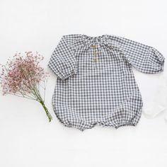 Pink Pacific Baby Balloon Romper (Grey Checkered) – Greenberry Kids
