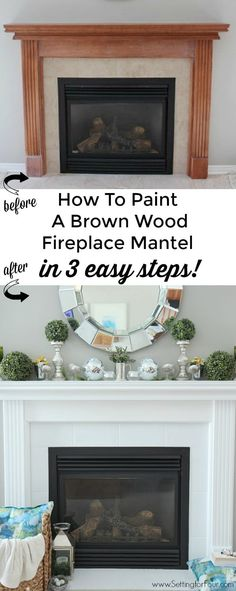 See this stunning fireplace mantel reveal! Learn how to paint a brown wood mante… See this stunning fireplace mantel reveal! Learn how to paint a brown wood mantel in 3 EASY steps! The DIY paint tutorial and supply list is… Continue reading → Painted Fireplace Mantels, Wood Mantle, How To Paint Fireplace, Painting Fireplace, Tile Fireplace, Fireplace Update, Diy Home Supplies, Trendy Home, Brown Wood