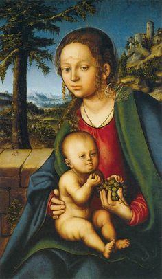 Cranach l'Ancien - Renaissance -  Vierge à l'Enfant avec une grappe de raisin (1509-1510)