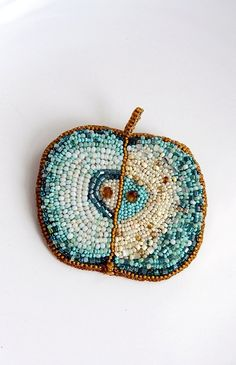 "Brooch ""Green Apple"". Beadwork."