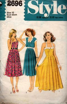 Style 2696 Womens Fit & Flare Halter Sundress & Bolero Jacket 70s Vintage Sewing Pattern Size 10 Bust 32 1/2 inches