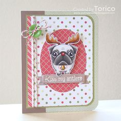 handmade Christmas card from STAMPARADISE: Naughty or Nice Challenge . mod image of a pug wearing antlers . Animal Dress Up, Scrapbook Cards, Scrapbooking, Dog Cards, Christmas Cards, Xmas, Greeting Cards Handmade, Antlers, Handmade Christmas