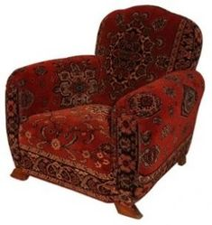 French deco club chair ca. re-upholstered in antique dutch mohair ca. Unique mohair design patterned after oriental rugs. Not a fan of the upholstery, myself, but omg I love those FEET! Deco Furniture, Rustic Furniture, Antique Furniture, Cool Furniture, Asian Furniture, Furniture Online, Furniture Outlet, Plywood Furniture, Bohemian Style Home
