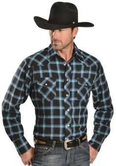 Wrangler Two-Tone Blue Plaid 4.5 oz. Flannel Western Shirt - Reg - Sheplers