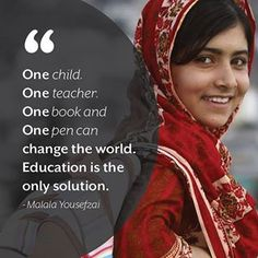 "Malala Yousafzai, champion of education for girls and nominee for the Nobel Peace Prize. "" Youngest person ever to win Nobel Peace Prize. Great Quotes, Me Quotes, Inspirational Quotes, Famous Quotes, Qoutes, The Words, Nobel Peace Prize, Nobel Prize, Change The World"