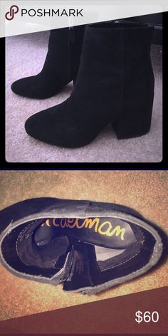 Black Suede Sam Edelman Boots Gorgeous Sam Edelman boots black suede detail carries though to the heel itself, worn twice like new condition Sam Edelman Shoes Ankle Boots & Booties