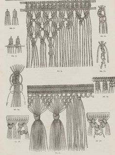 So macrame is like braiding hair? From the public domain book Complete guide to the work-table : containing instructions in Berlin work, crochet, drawn-thread work, embroidery, knitting, knotting or macrame, lace, netting, poonah painting, & tatting, with numerous illustrations and coloured designs (1884). Más Más