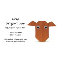 Introducing an Easy Origami Cow Origami Models, Easy Origami, Cow, Diy Crafts, Activities, Origami Easy, Homemade, Diy Home Crafts, Diy Projects