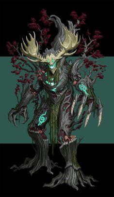 Ent, Hareum Lim on ArtStation Monster Concept Art, Fantasy Monster, Monster Art, Creature Concept Art, Creature Design, Forest Creatures, Mythical Creatures, Monsters Rpg, Fantasy Character Design