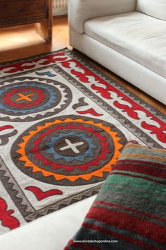 nice combi a felt carpet and a kilim cushion www.shirdakshoponline.com