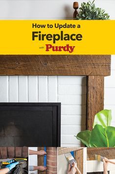 Turn your outdated fireplace into a modern beauty. It's a simple weekend project that can transform your whole living room. Make it perfect with the right painting tools from Purdy® and these helpful tips. Fireplace Update, Fireplace Built Ins, Brick Fireplace Makeover, Fireplace Remodel, Fireplace Mantle, Fireplace Design, Decoraciones Ramadan, Painted Brick Fireplaces, White Wash Brick