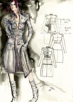 Fashion Sketchbook page - watercolour fashion illustration & fashion design flats // Yoyo Han