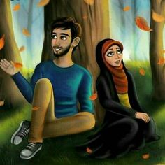 The male cartoon looks so much like someone I have a crush on� Muslim Couple Quotes, Cute Muslim Couples, Muslim Love Quotes, Love In Islam, Islamic Love Quotes, Love Quotes For Him, Cute Couples, Love Cartoon Couple, Cute Couple Art