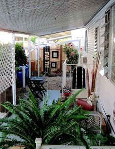 Outside area of permanent camp site Picket Fence Panels, Glazing Furniture, Single Wide Mobile Homes, Mother Daughter Projects, Pet Gate, Raised Planter, Faux Stained Glass, Swimming Pools Backyard, Yard Games