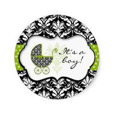 Chic Green Polka Dot Damask Stickers