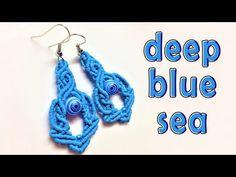 Macrame tutorial earrings: The deep blue sea pattern - Hướng dẫn thắt dâ. Macrame Earrings Tutorial, Macrame Bracelet Tutorial, Earring Tutorial, Diy Earrings, Crochet Earrings, Diy Bracelet, Macrame Knots, Macrame Jewelry, Macrame Bracelets