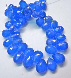 SALE Cobalt blue chalcedony gemstone briolette by GemstonebyPM, $8.40