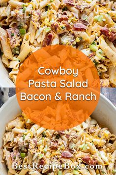 Our cowboy pasta salad with bacon & ranch is absolutely awesome. It's great for the whole family to enjoy. Yummy Pasta Recipes, Easy Salads, Healthy Salad Recipes, Lunch Recipes, Dinner Recipes, Potato Side Dishes, Vegetable Side Dishes, Main Dish Salads, Main Dishes