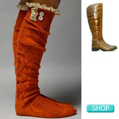 Orange Boot Socks with cognac riding boots and side buckle detail